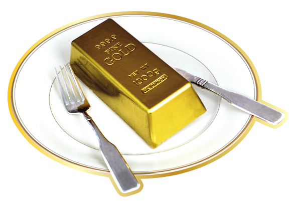 Gold Bar on Plate with Fork and Knife
