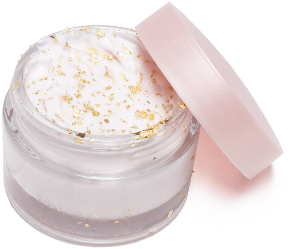 Gold Leaf Powder in Facial Body Cream Jar