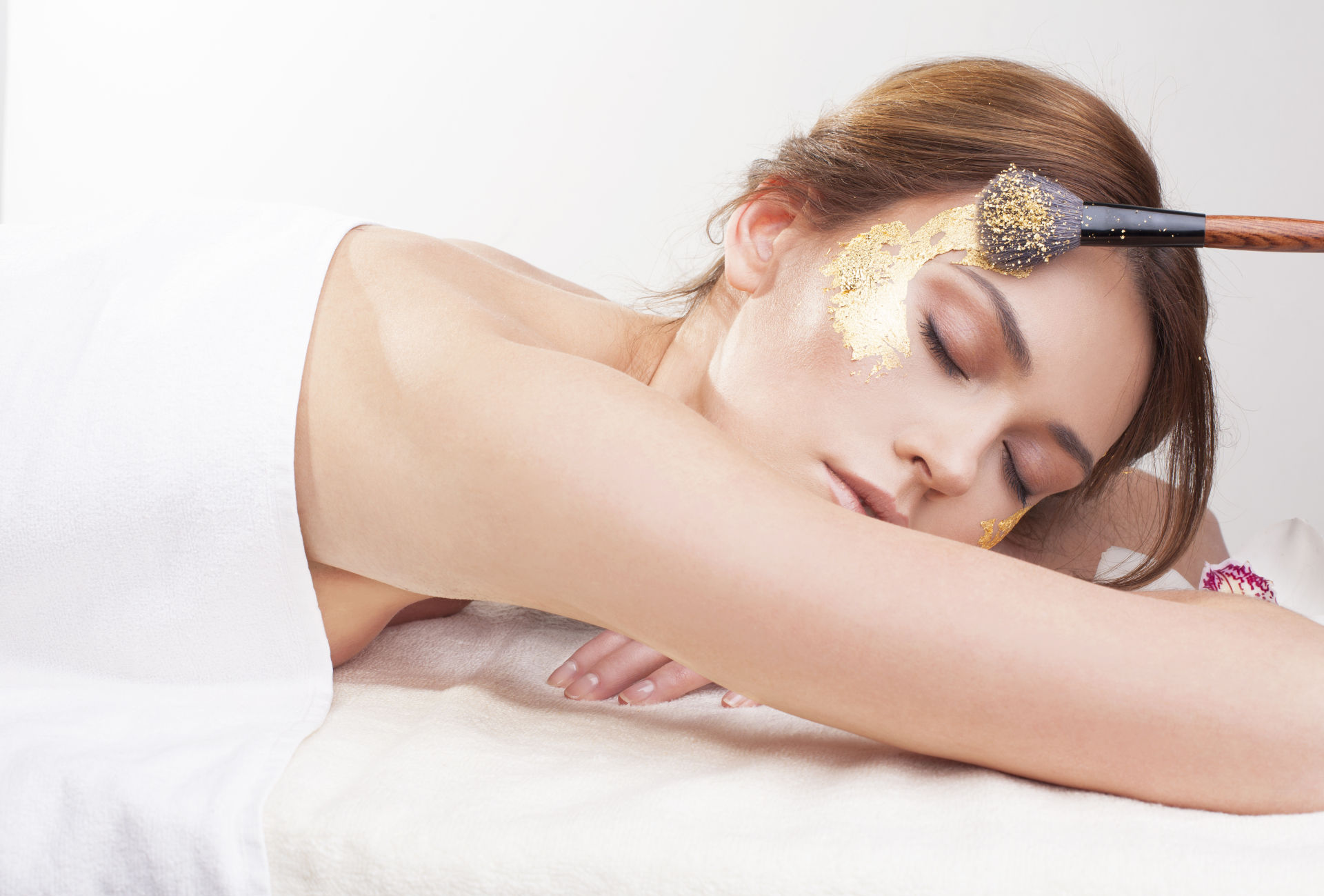 Woman Relaxing 24K Gold Leaf Cosmetics