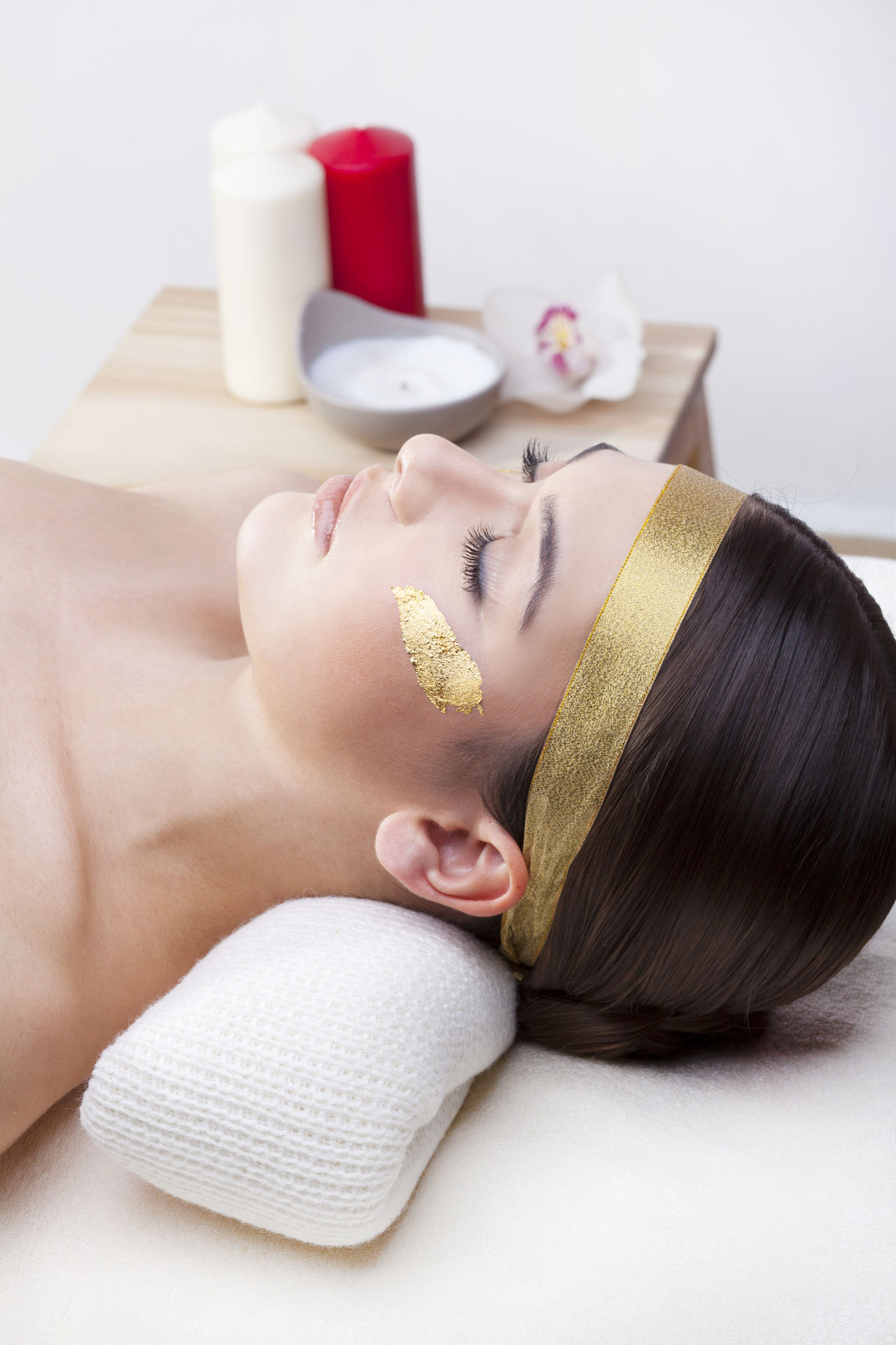 Woman in Spa Gold Leaf Facial