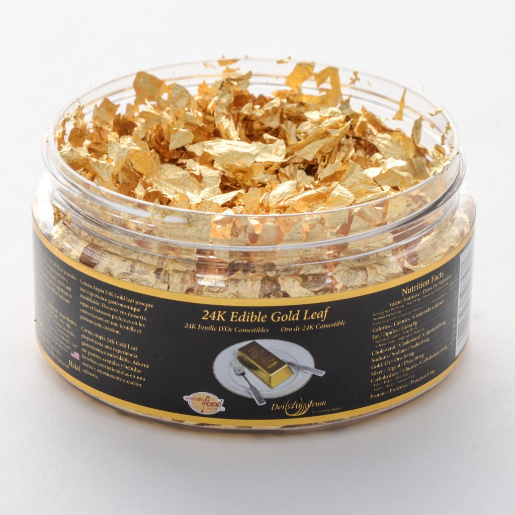 24K Edible Gold Leaf Flakes, Jar, 1g