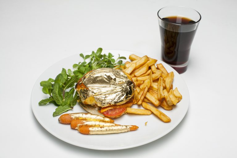 Edible Gold on Hamburger with Carrots and Fries