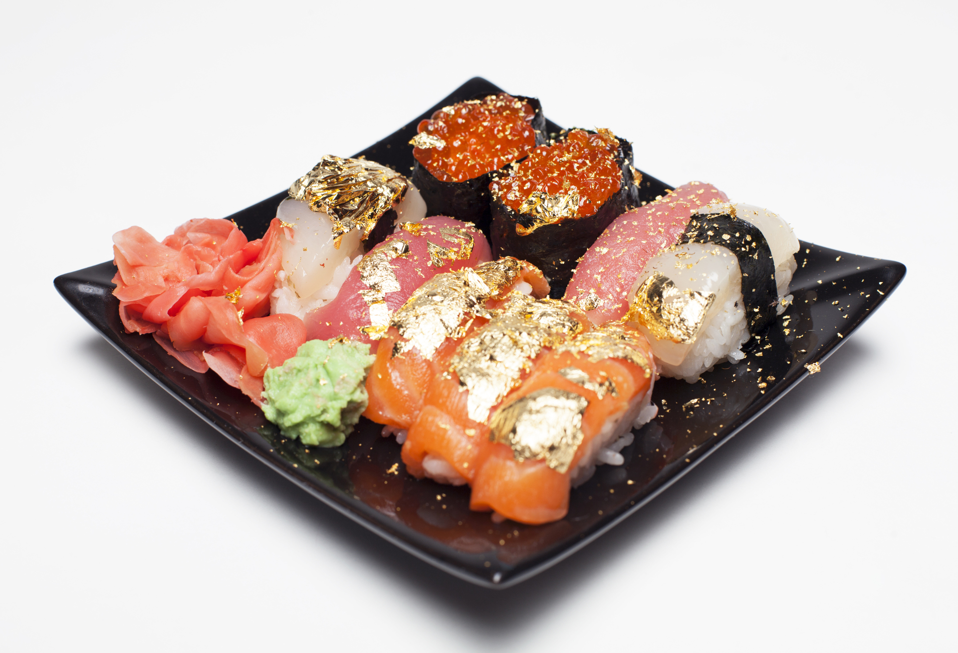 Edible Gold on Sushi and Sashimi