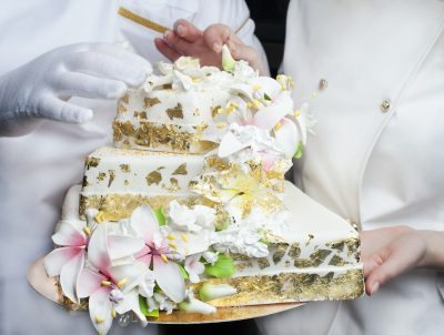 Cake decorated with edible gold flakes.