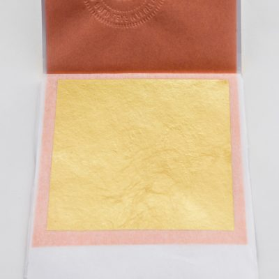 Edible Gold Leaf Transfer Booklet Shown in Example