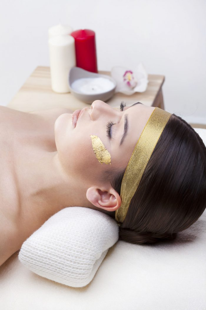 Luxury spa treatment with gold.