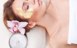 Gold leaf mask spa treatment.
