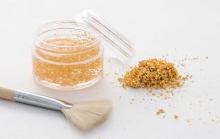 Gold leaf crumbs can be added to your favorite cosmetics.