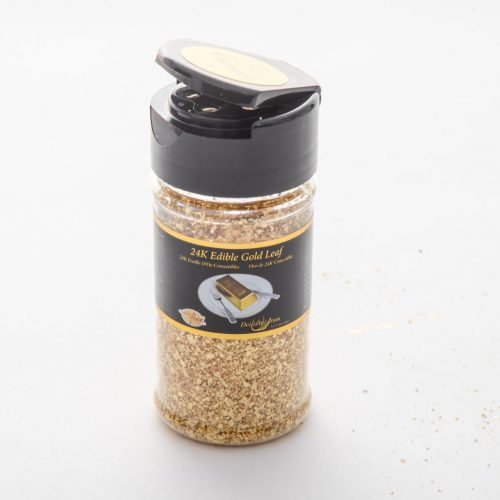 Edible gold crumbs in a shaker.